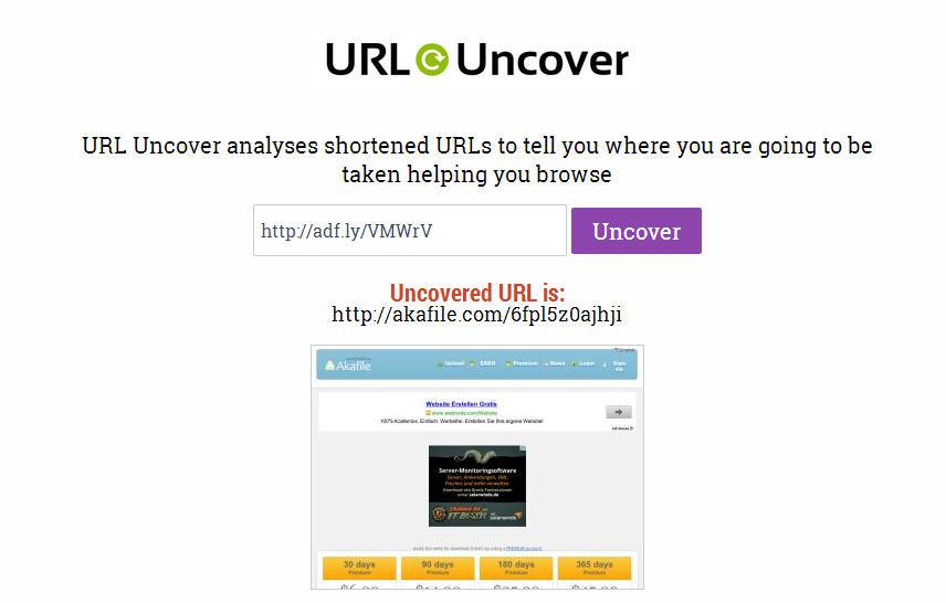 Membuka Link Asli URL Pendek Website dengan URL Uncover